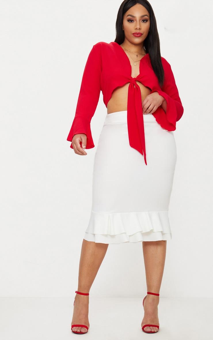 Plus White Frill Hem Midaxi Skirt 1