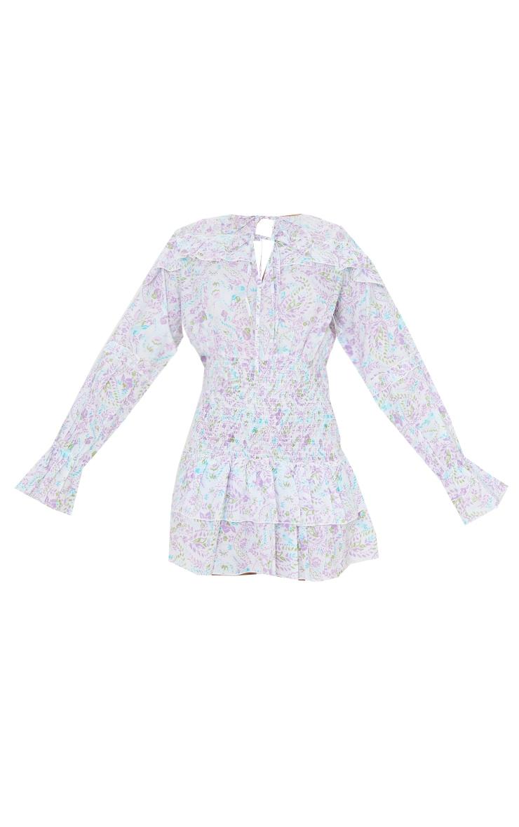 White Floral Print Shirred Waist Frill Detail Shift Dress 5