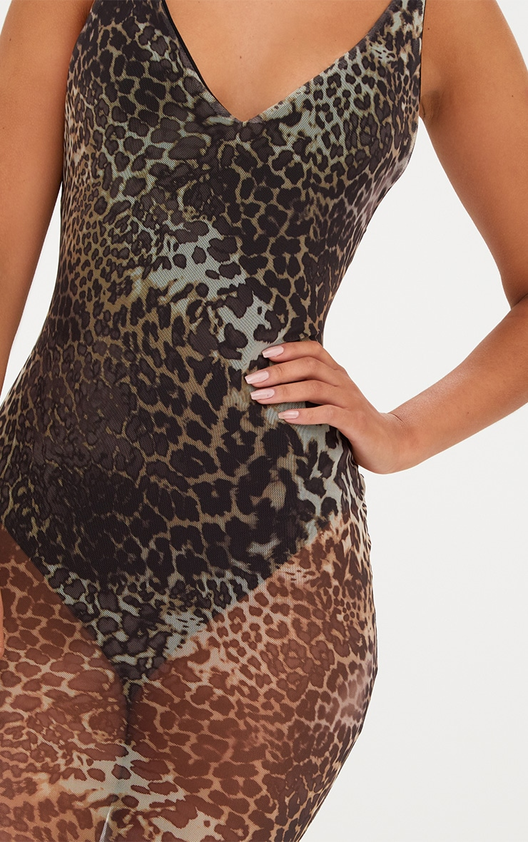 Leopard Print Mesh Bodycon Dress 5