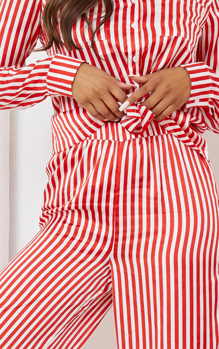 Red & White Stripe Satin Long Leg PJ Set 4