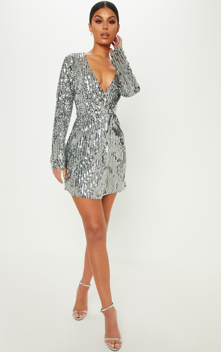 Silver Sequin Plunge Wrap Bodycon Dress 1