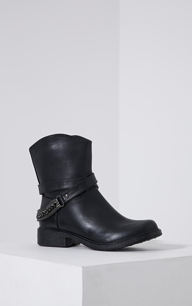 Caris Black Metal Chain Heel Boots 3