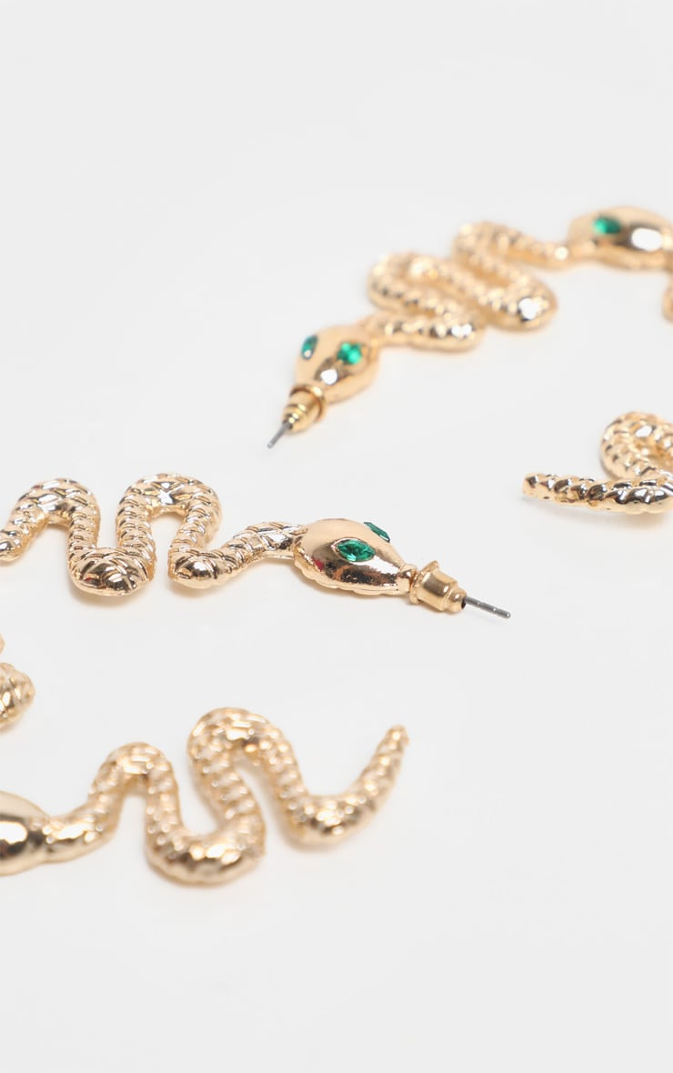 Gold Snake Green Diamante Hoop Earrings 3