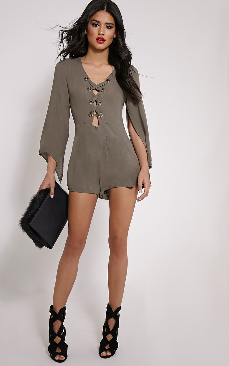 Clemence Grey Lace Up Detail Bell Sleeve Playsuit 2