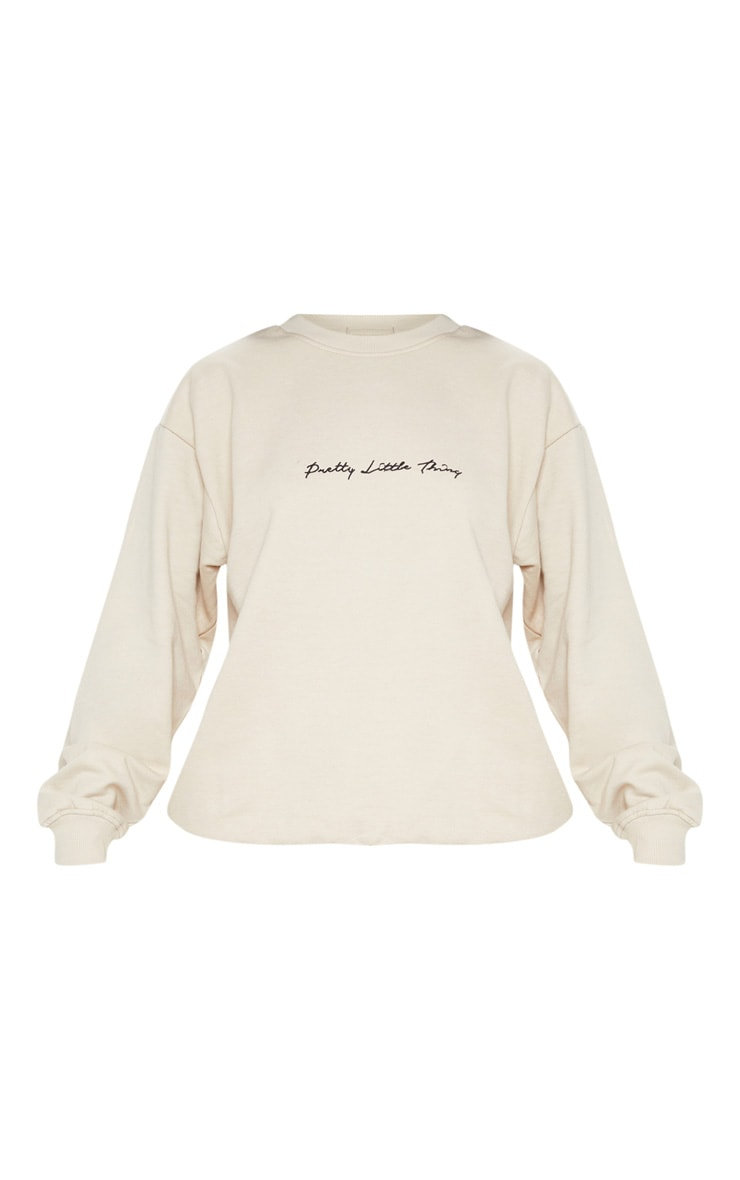 PRETTYLITTLETHING Sand Embroidered Oversized Sweater 3
