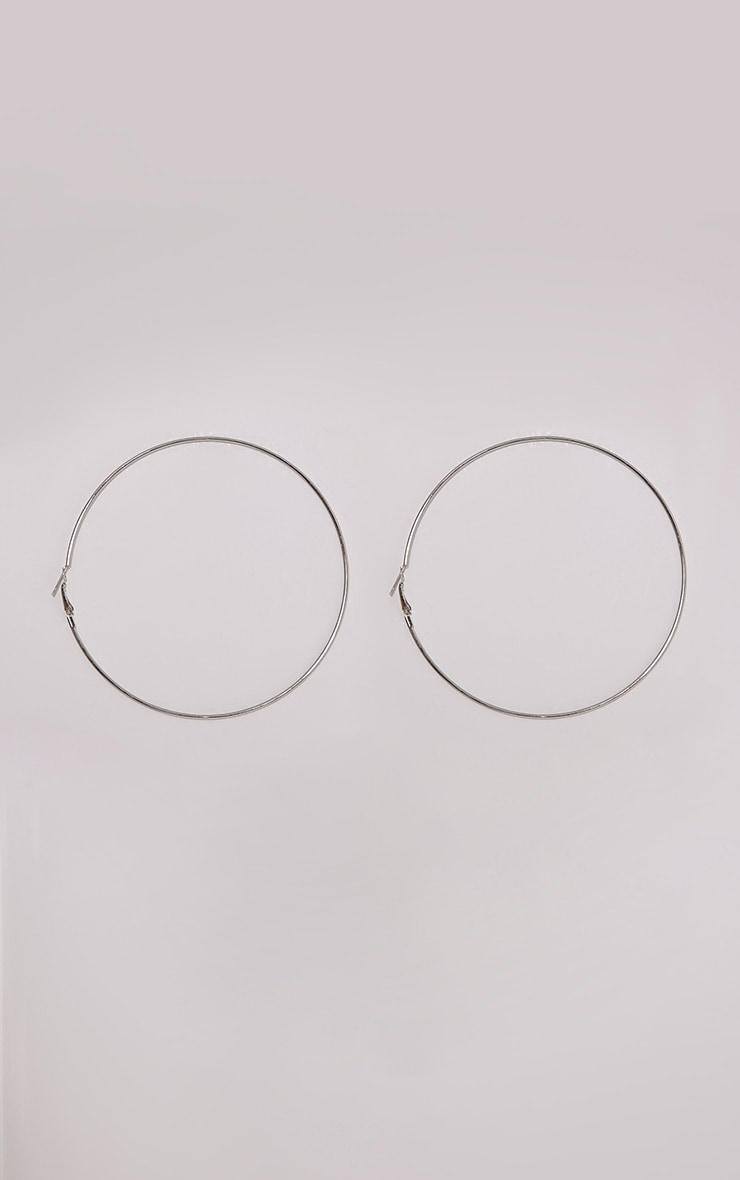 Silver 100mm Hoop Earrings 3