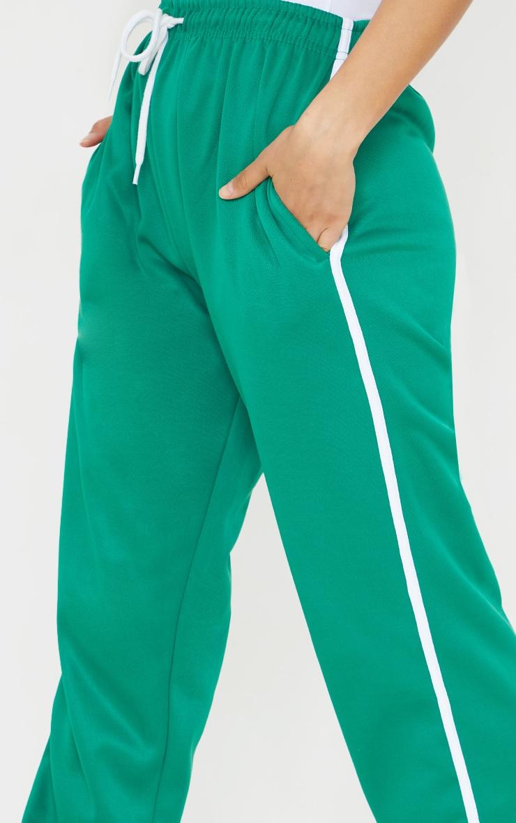 Deep Green Tri Cot Side Stripe Wide Leg Joggers 4