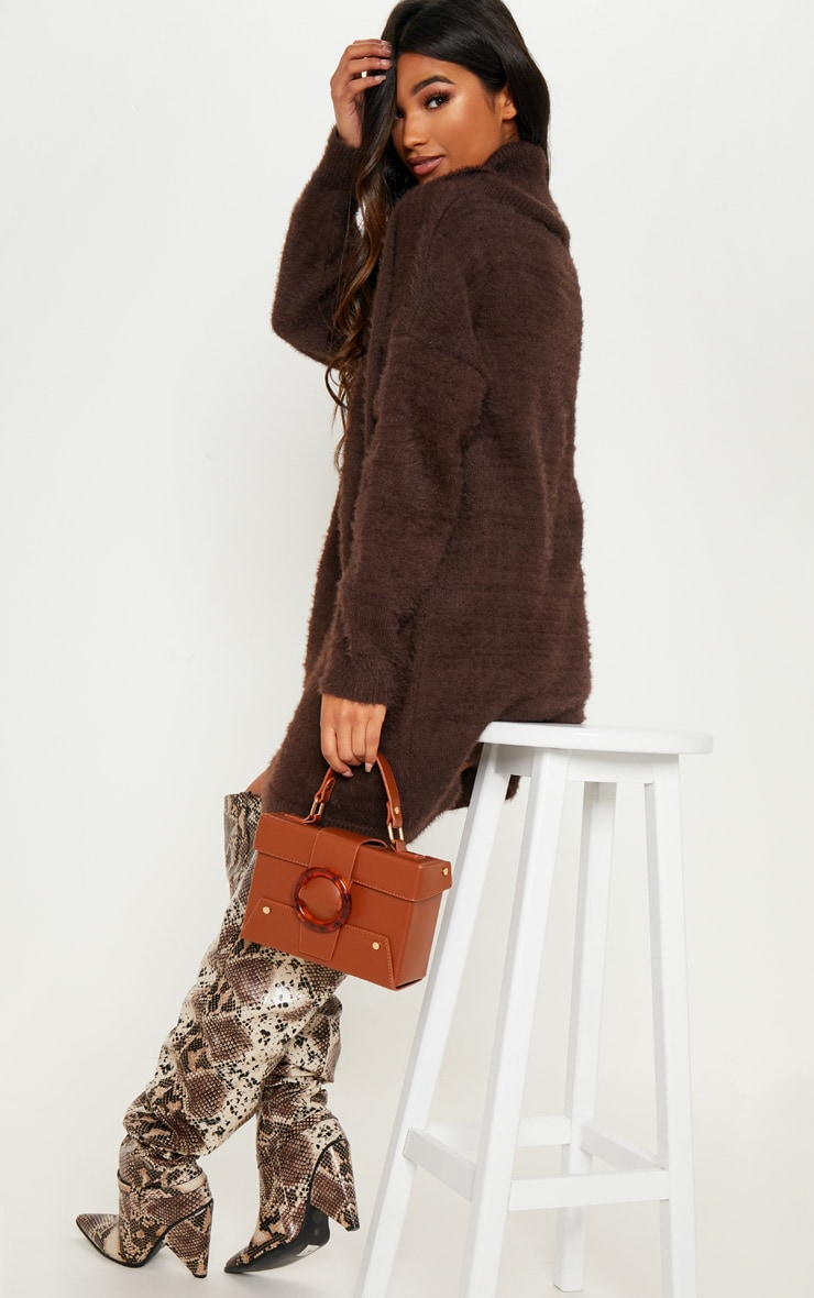 Brown Knitted High Neck Jumper Dress 2