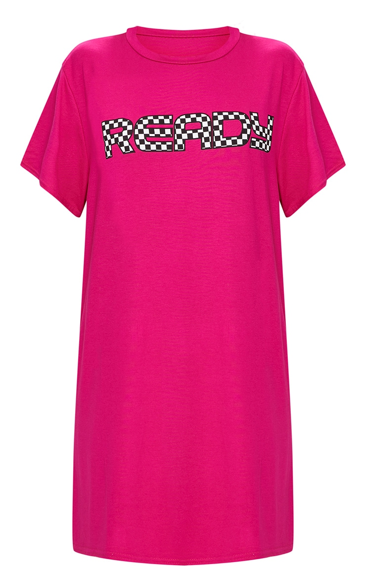 'Ready' Fuchsia T Shirt Dress 3