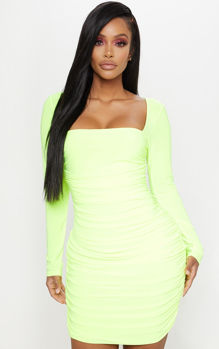 Shape Neon Yellow Slinky Square Neck Ruched Front Bodycon Dress 1