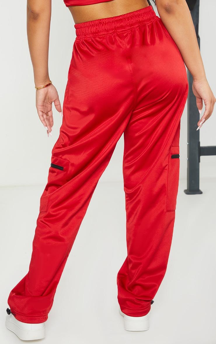 Petite Red Zip Pocket Detail Joggers 4