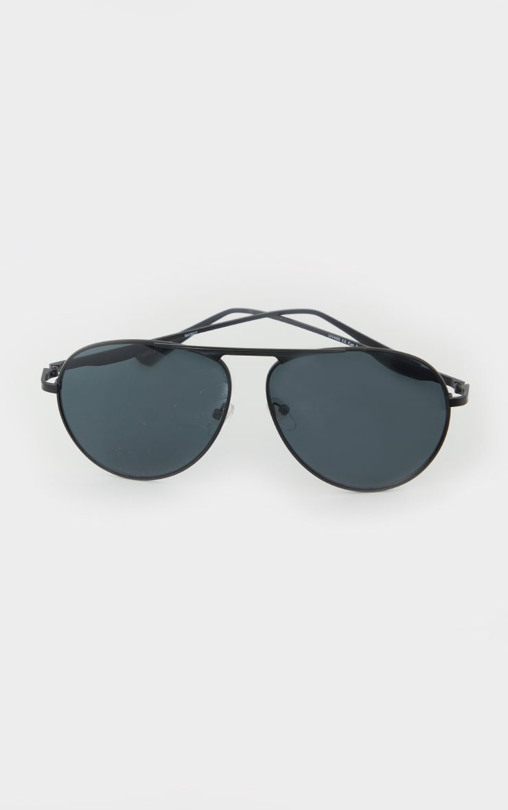Black Basic Aviator Sunglasses 3