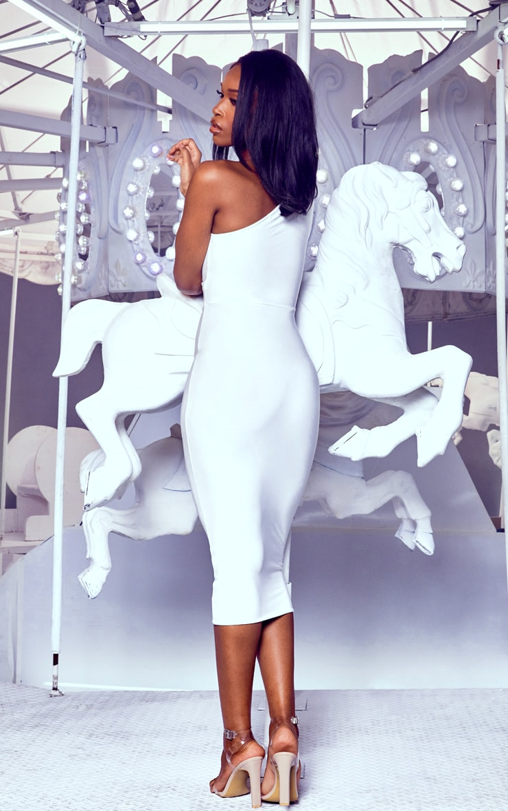 White Cut Out One Shoulder Midi Dress 2