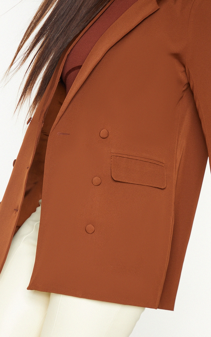 Chocolate Double Breasted Covered Button Blazer 4