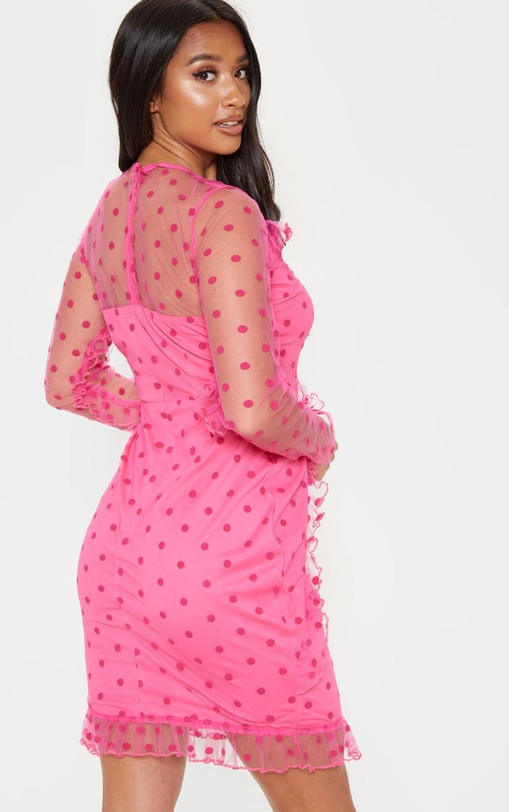 Petite Fuchsia Dobby Mesh Frill Detail Long Sleeve Dress 2