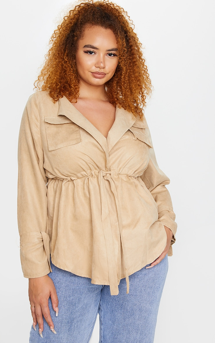 Plus Stone Faux Suede Cargo Ruched Waist Shirt 3