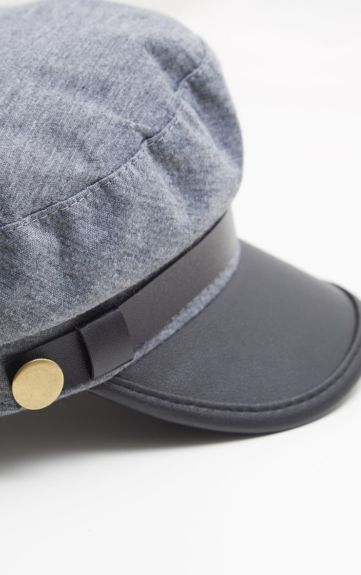 Grey Military Baker Boy Hat 3