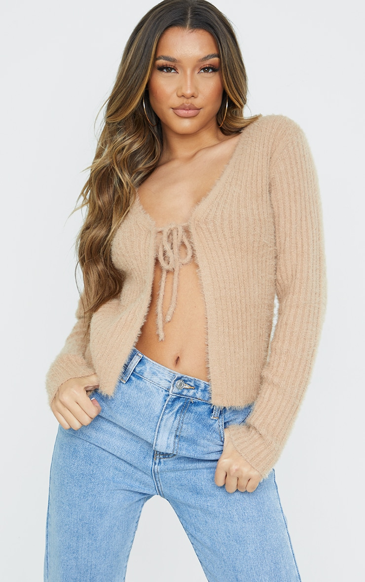 Camel Premium Eyelash Tie Front Knitted Cardigan 1