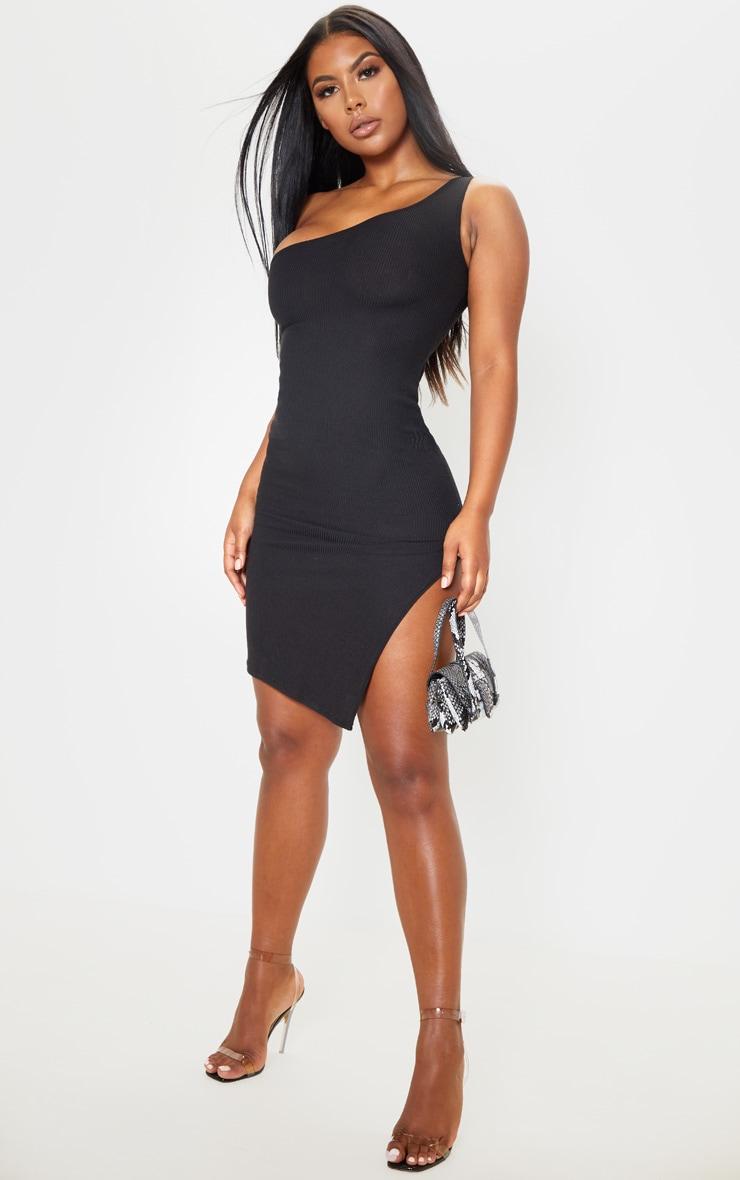 Black Ribbed One Shoulder Midi Dress  4