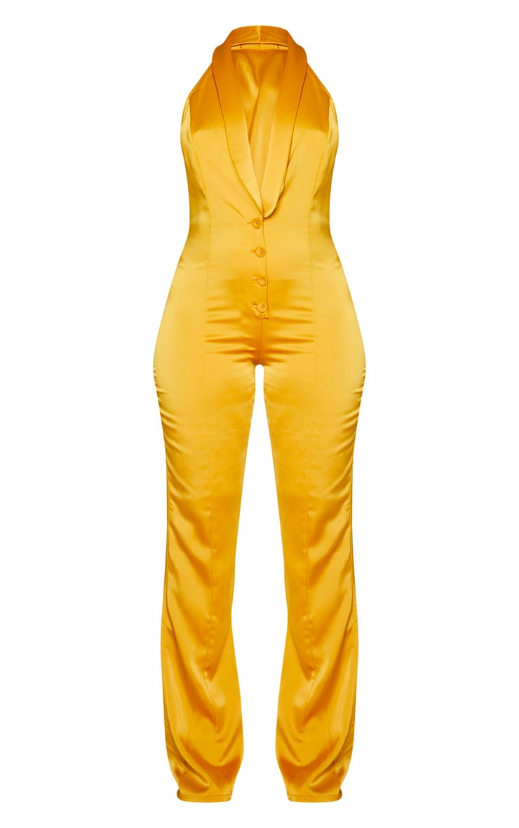 Mustard Satin Button Front Lapel Jumpsuit 5