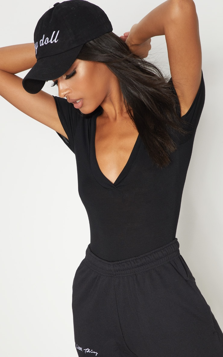 Black Jersey Plunge Short Sleeve Thong Bodysuit  6