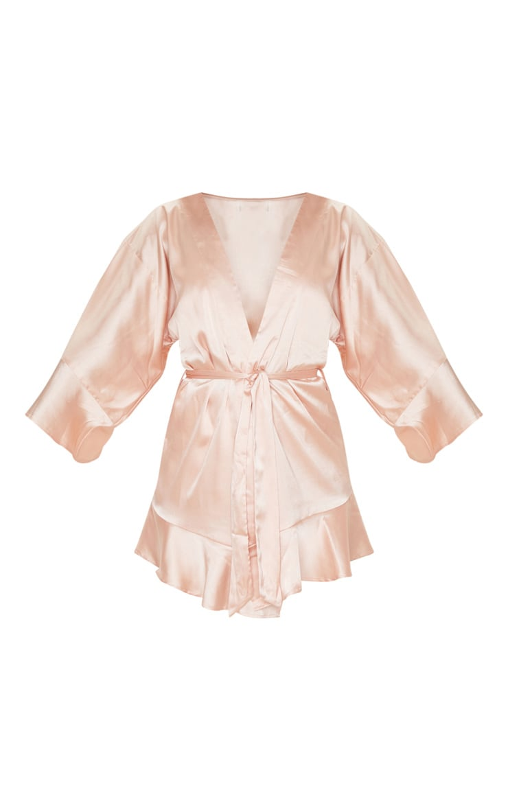 Rose Gold Frill Sleeve Satin Robe 3