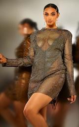 Black Diamante Mesh Bodycon Dress 5