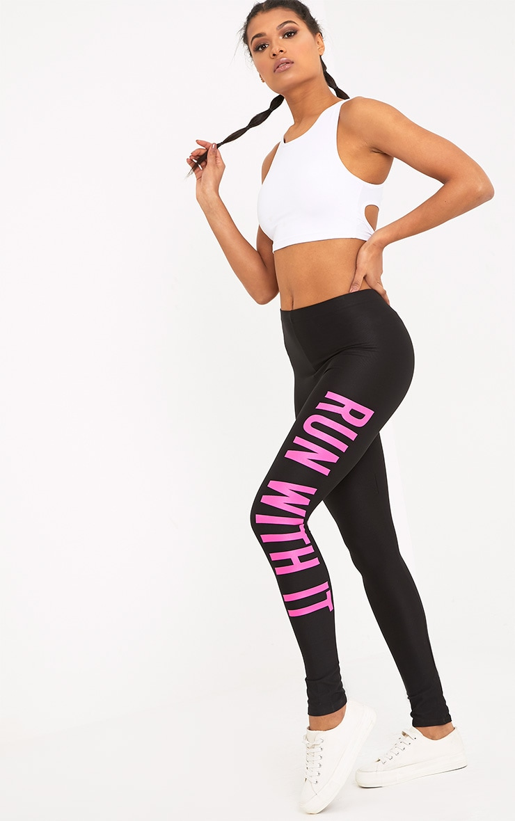 Run With It Black Sports Leggings 1