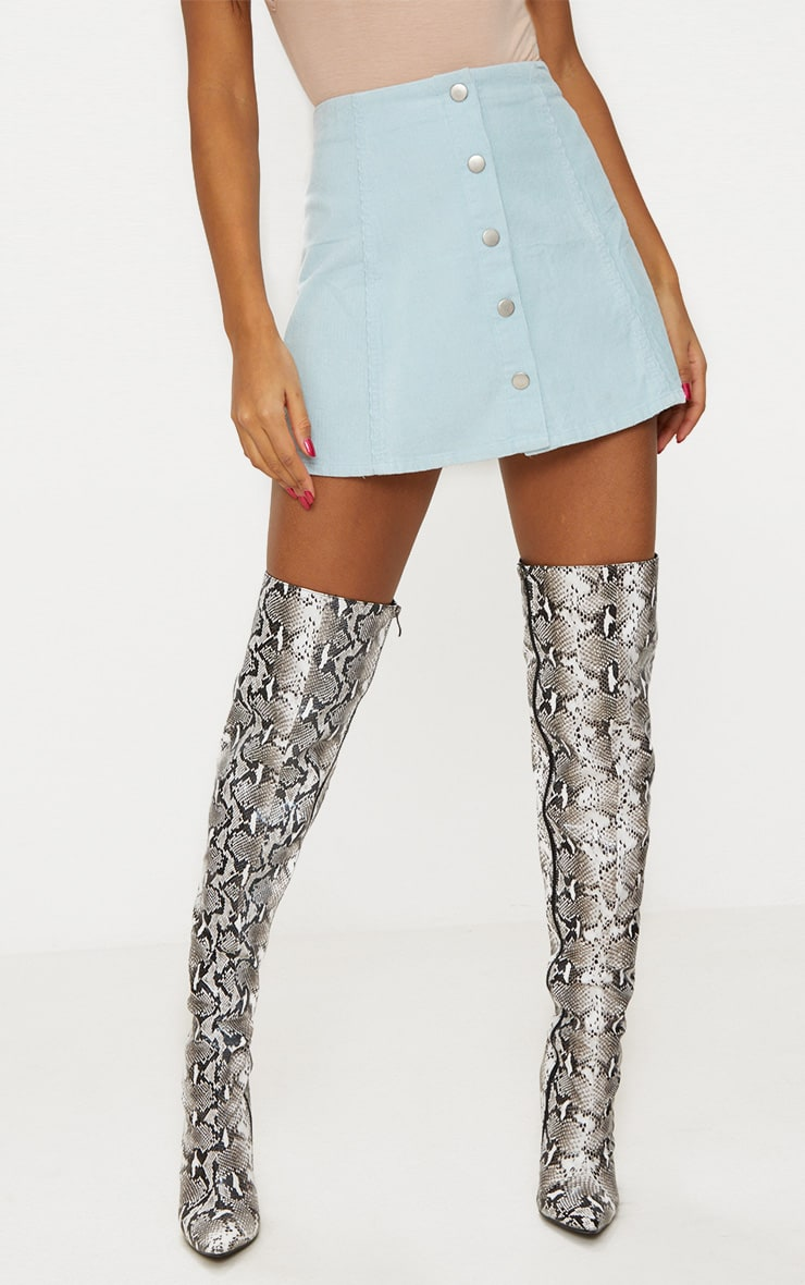 Baby Blue A-Line Cord Mini Skirt 2
