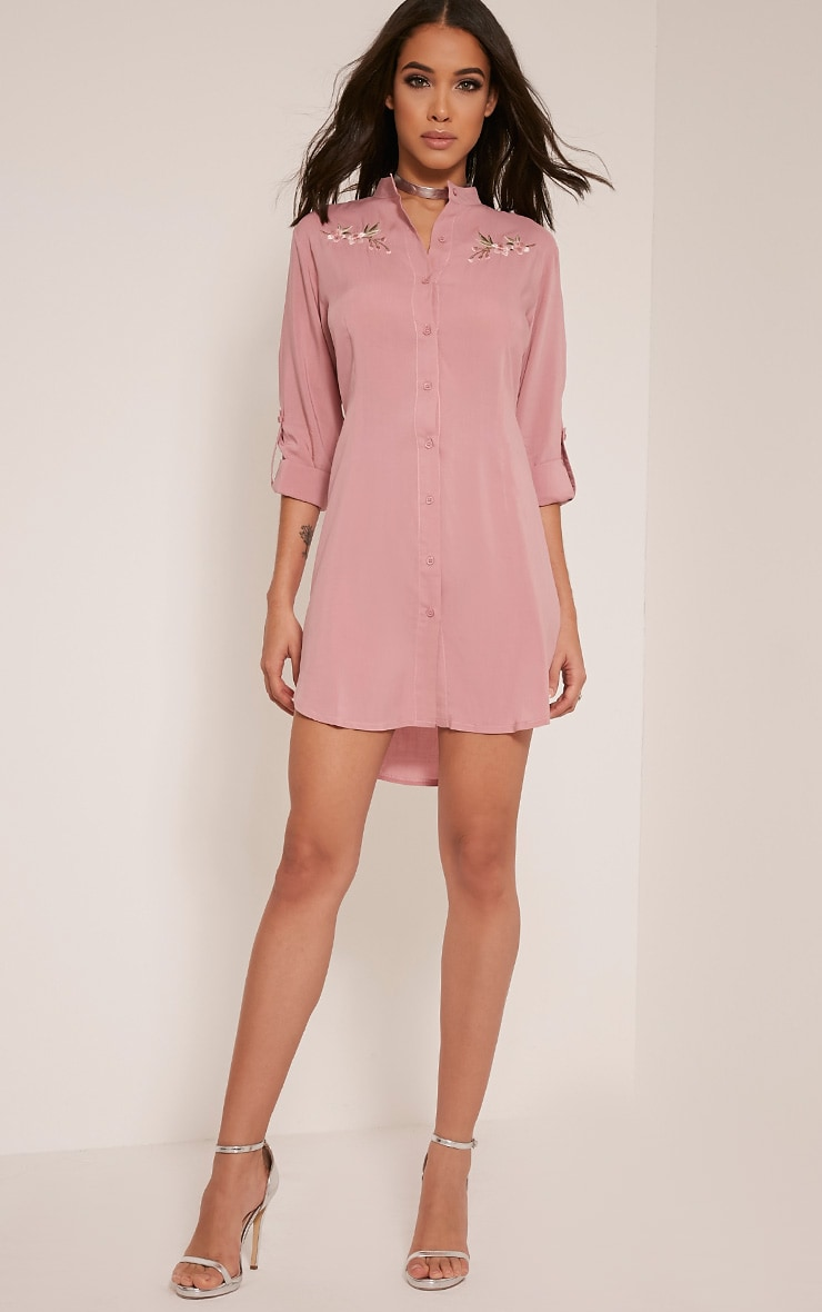 Isla Dusty Pink Floral Embroidered Shirt Dress 5