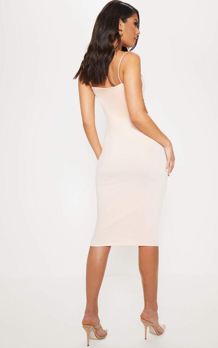 Nude Side Cut Out Detail Midi Dress 2