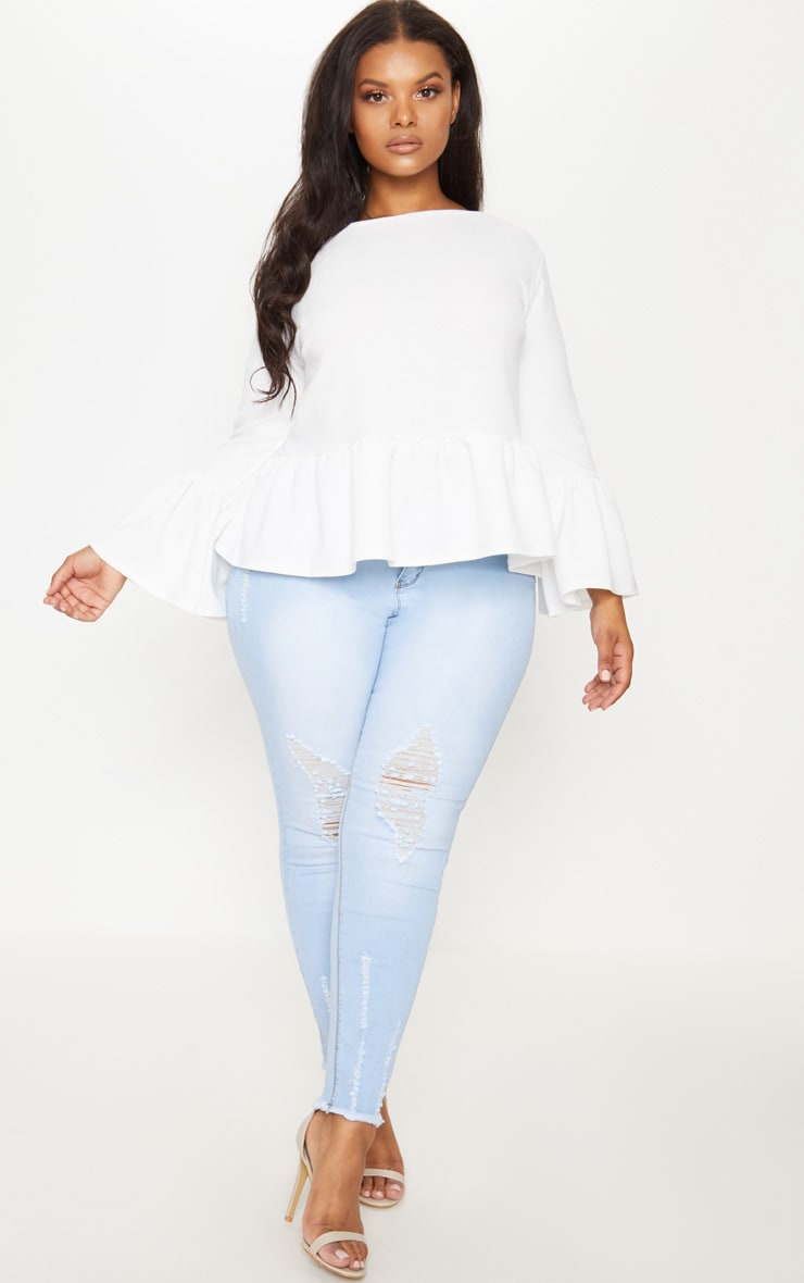 Plus White Frill Sleeve Top 4