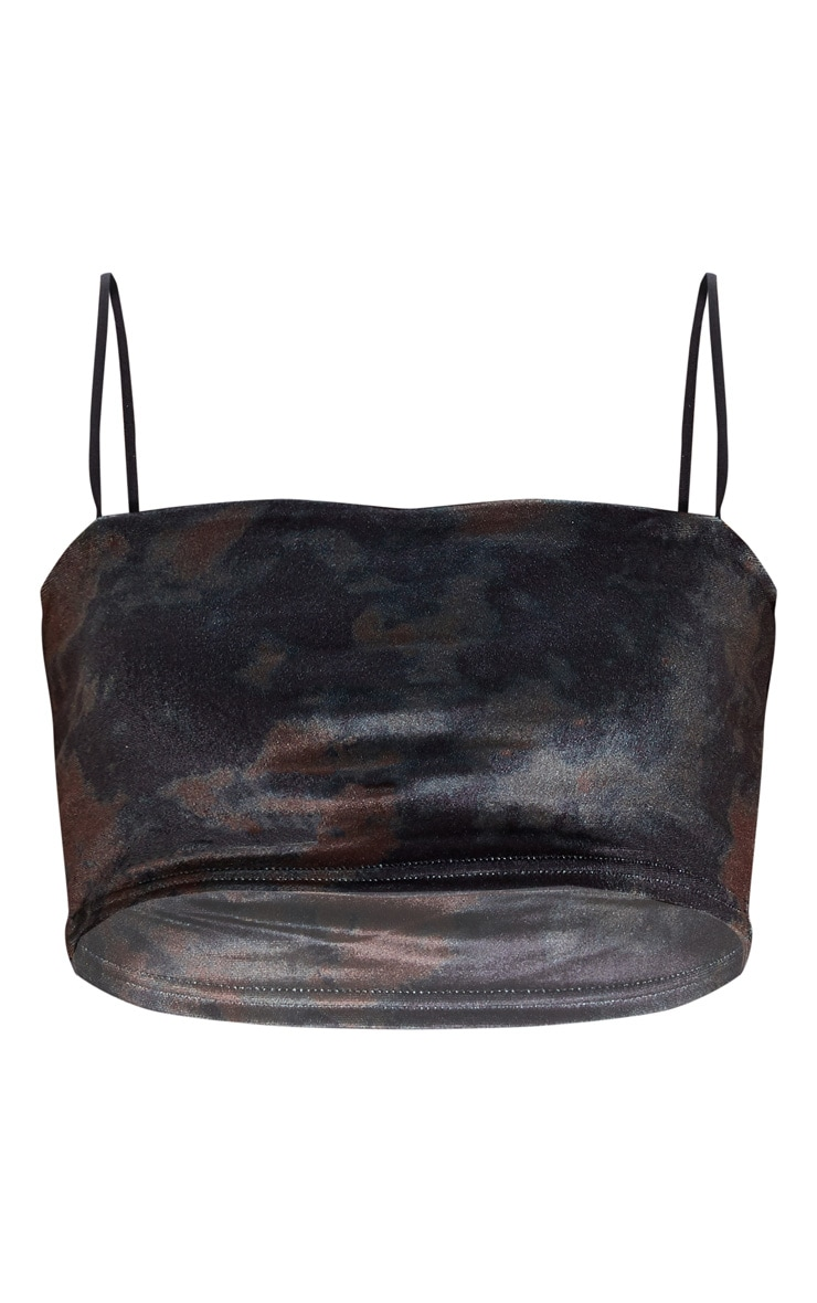 Black Tie Dye Velvet Strappy Crop Top 3