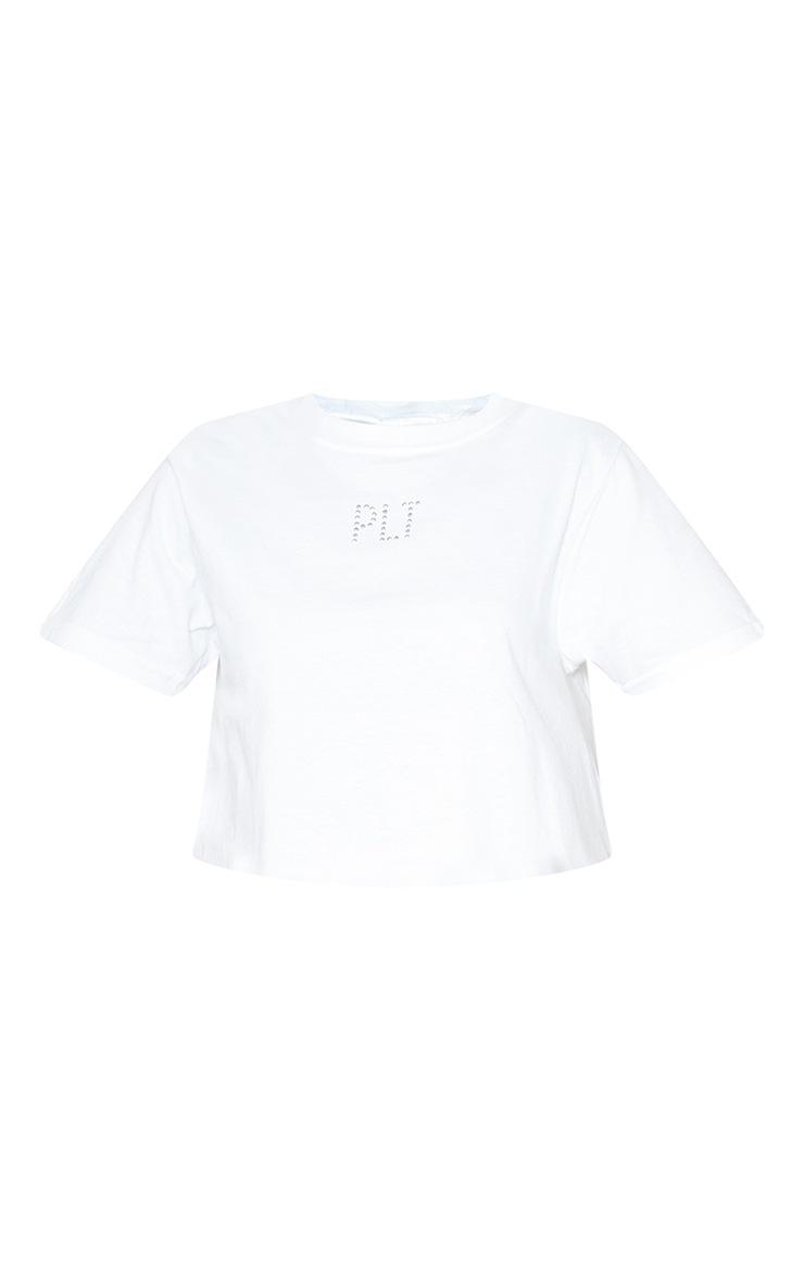 PRETTYLITTLETHING Petite - Tee-shirt crop blanc à slogan  3