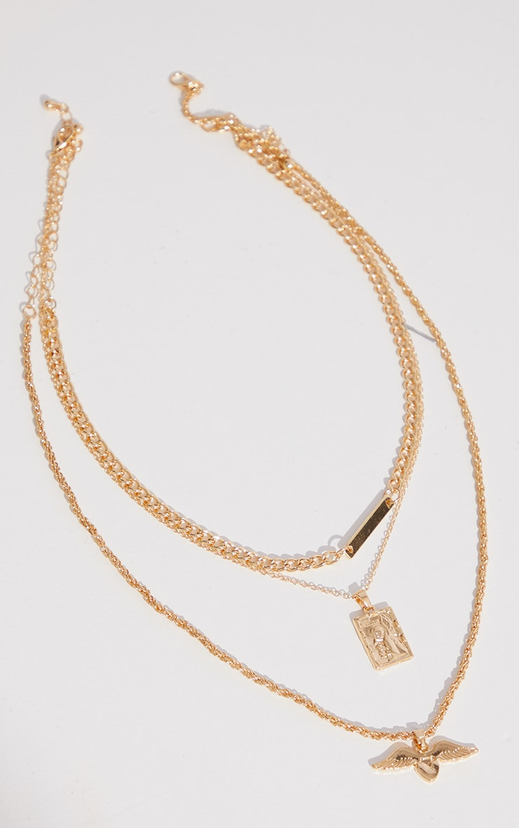 Gold Signet Chain And Winged Heart Charm Layering Necklace 1