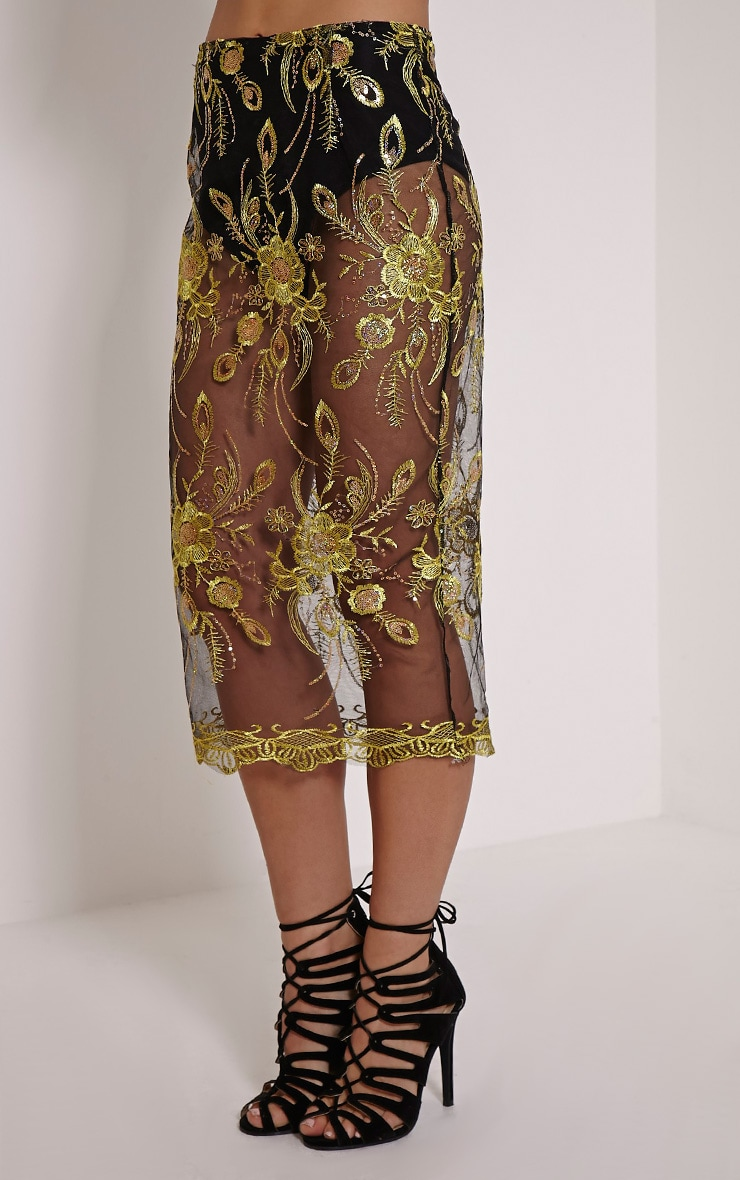 Meela Gold Floral Embroidered Mesh Midi Skirt 3