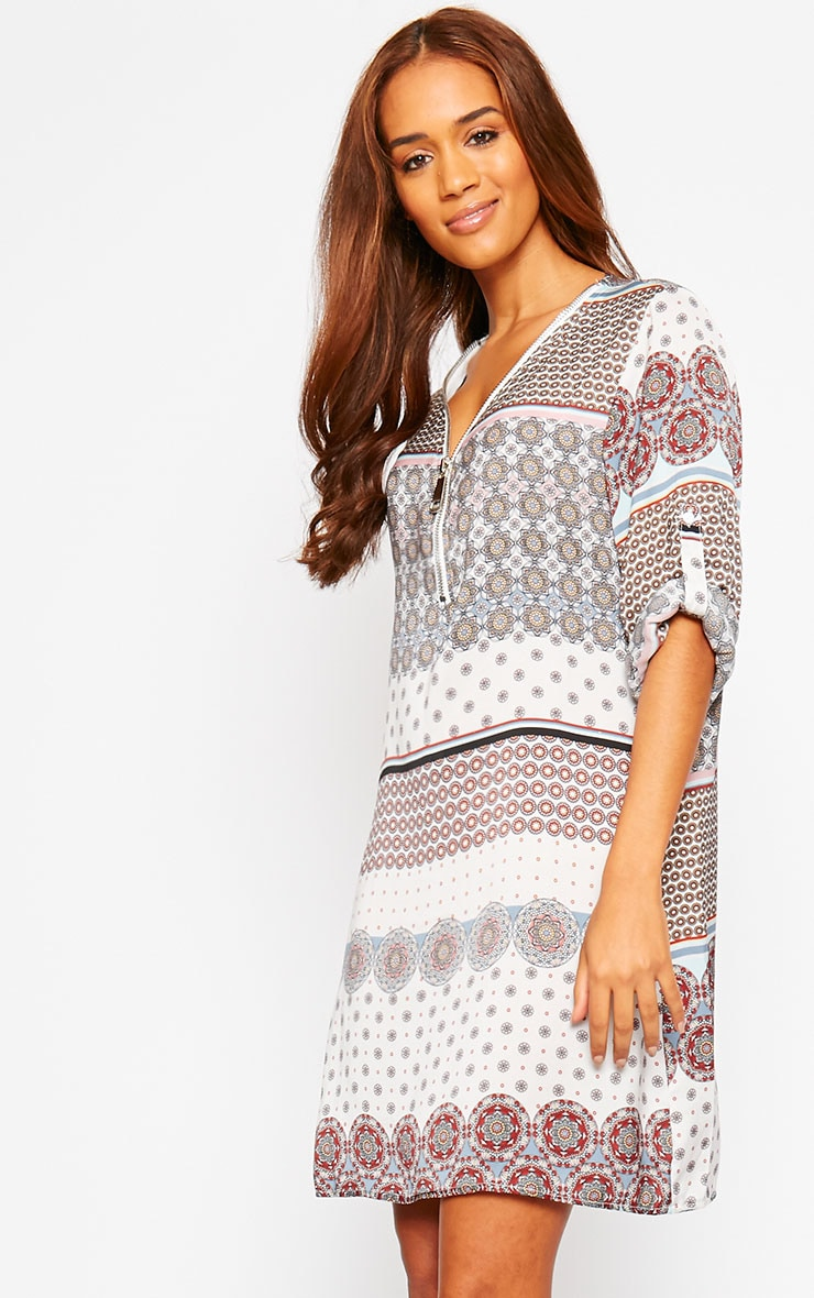 Priscilla White Zip Front Paisley Print Dress 6