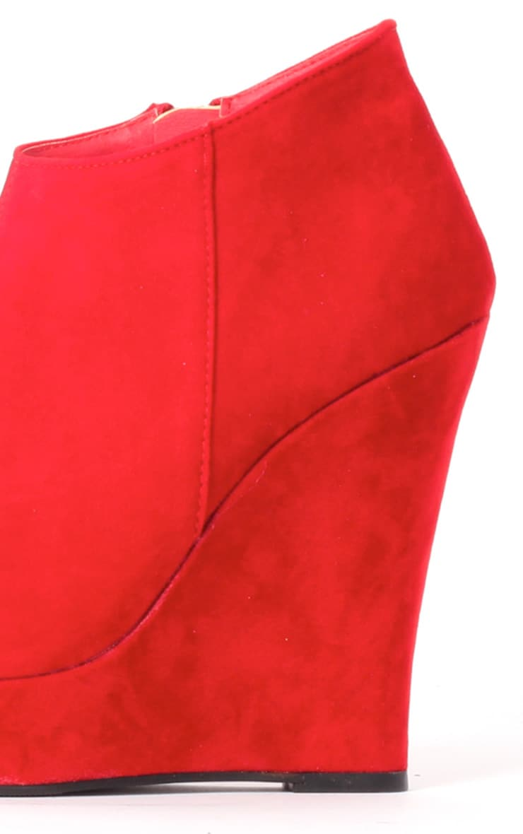 Cassie Red Wedge Boots 3