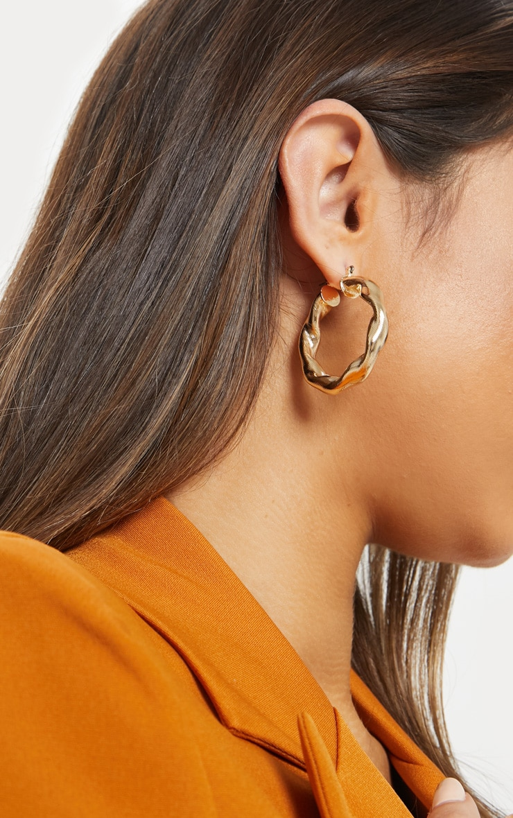 Gold Chunky Twist Hoops 1