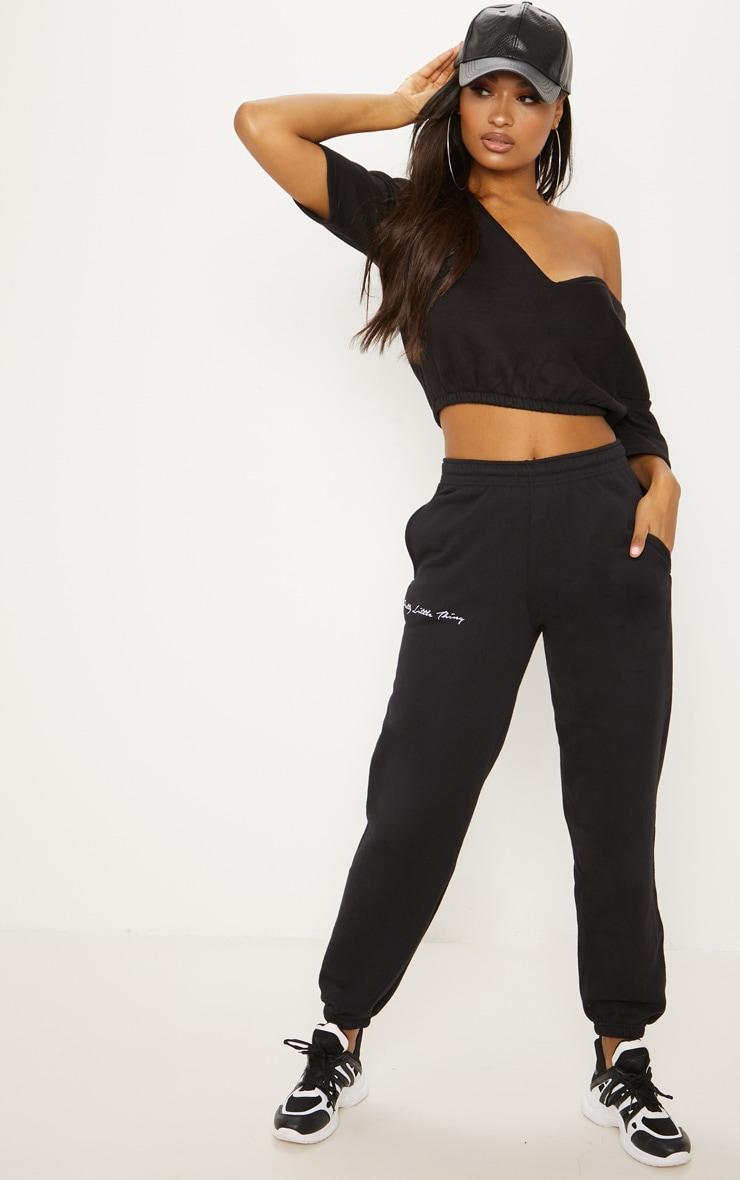Black Crop Off Shoulder Short Sleeve Sweater  4
