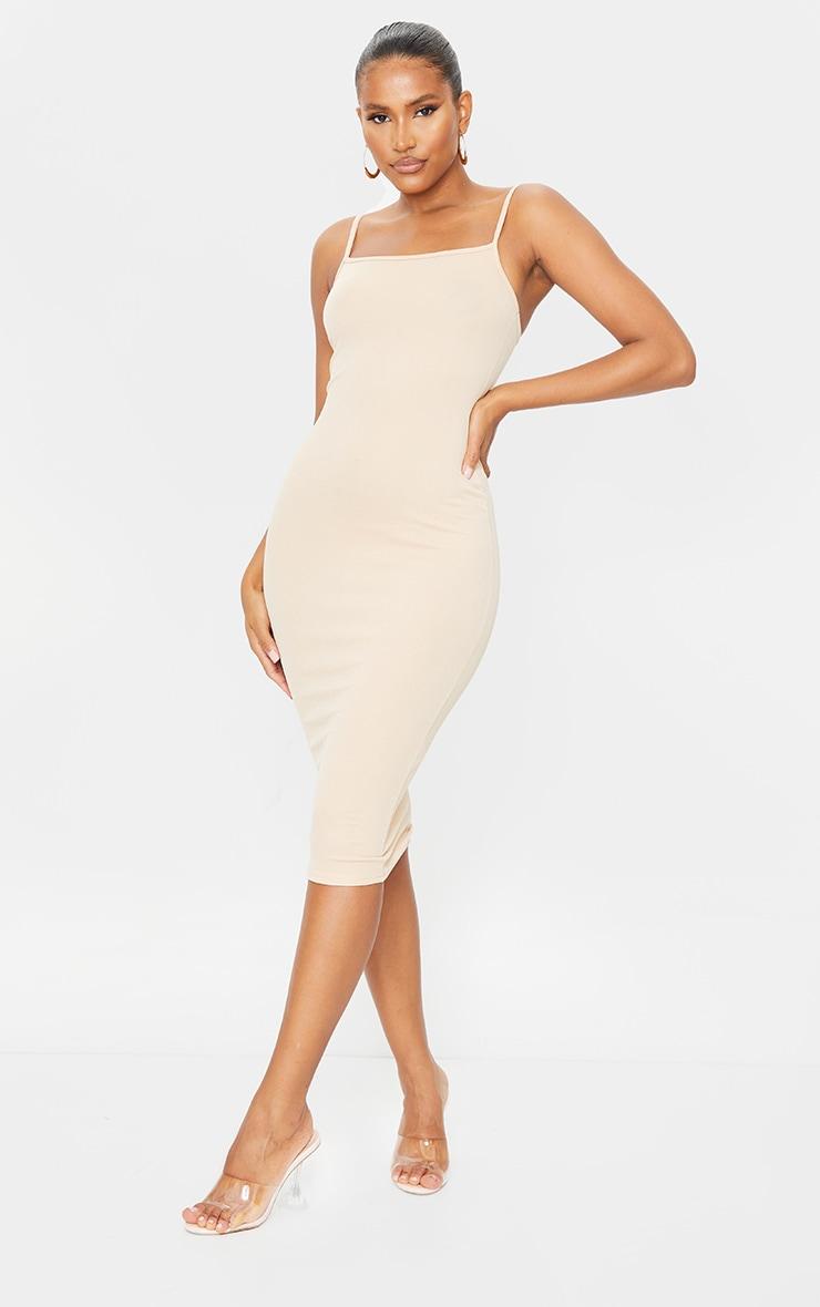 Sand Strappy Midi Dress 1