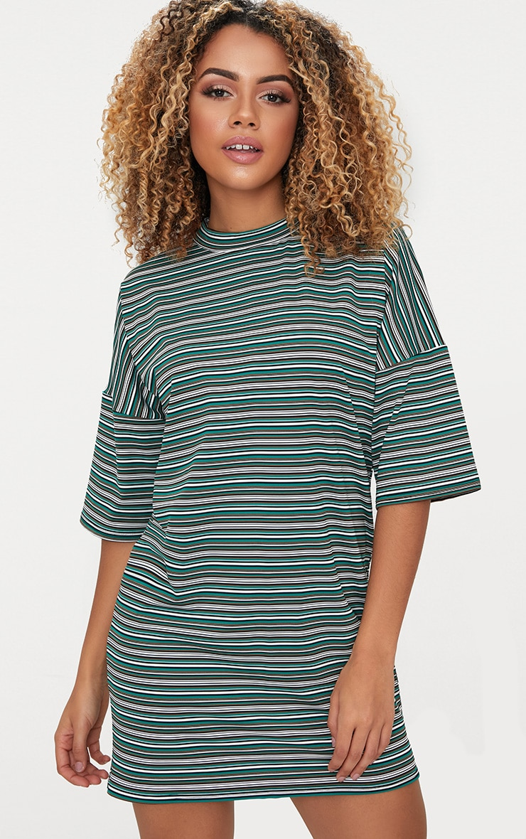 bca253843e1 Emerald Green Stripe Oversized T Shirt Dress | PrettyLittleThing