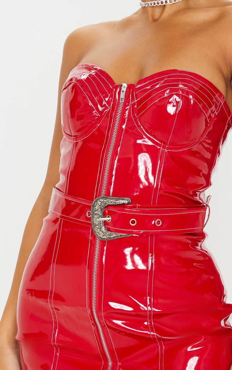 Red Vinyl Belted Zip Detail Bodycon Dress 5