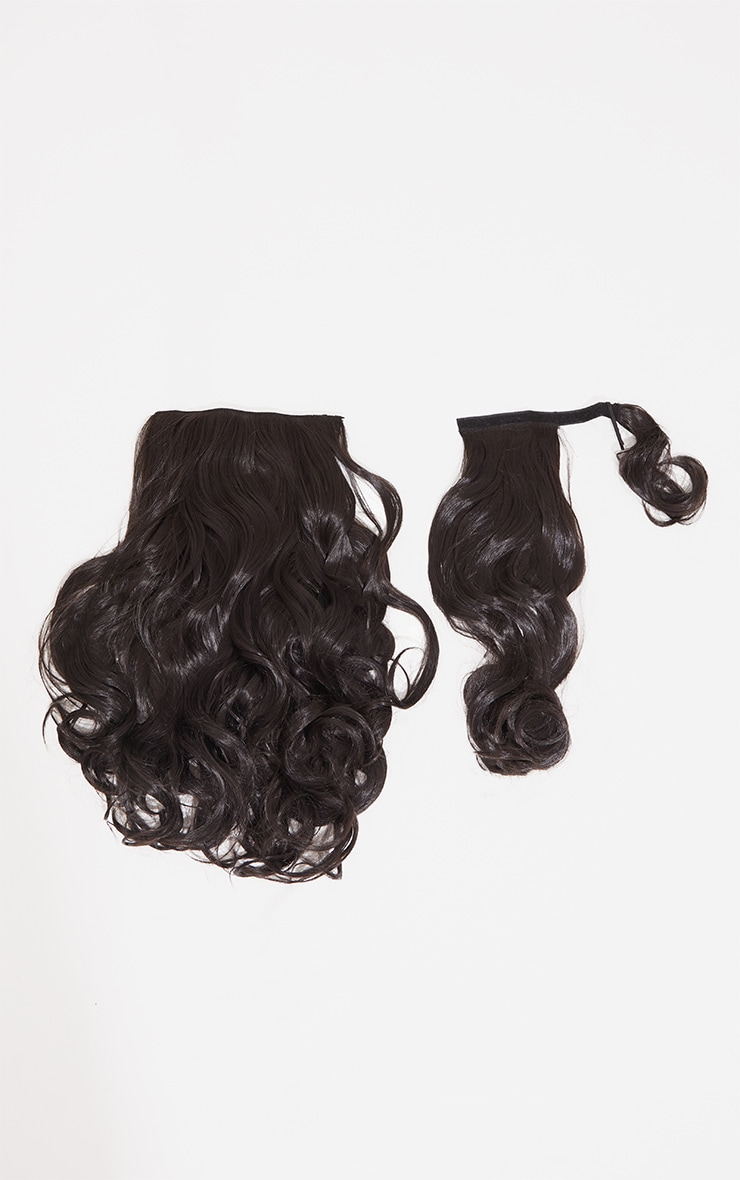 Lullabellz Ultimate Half Up Half Down 22 Curly Extension and Pony Set Dark Brown 5