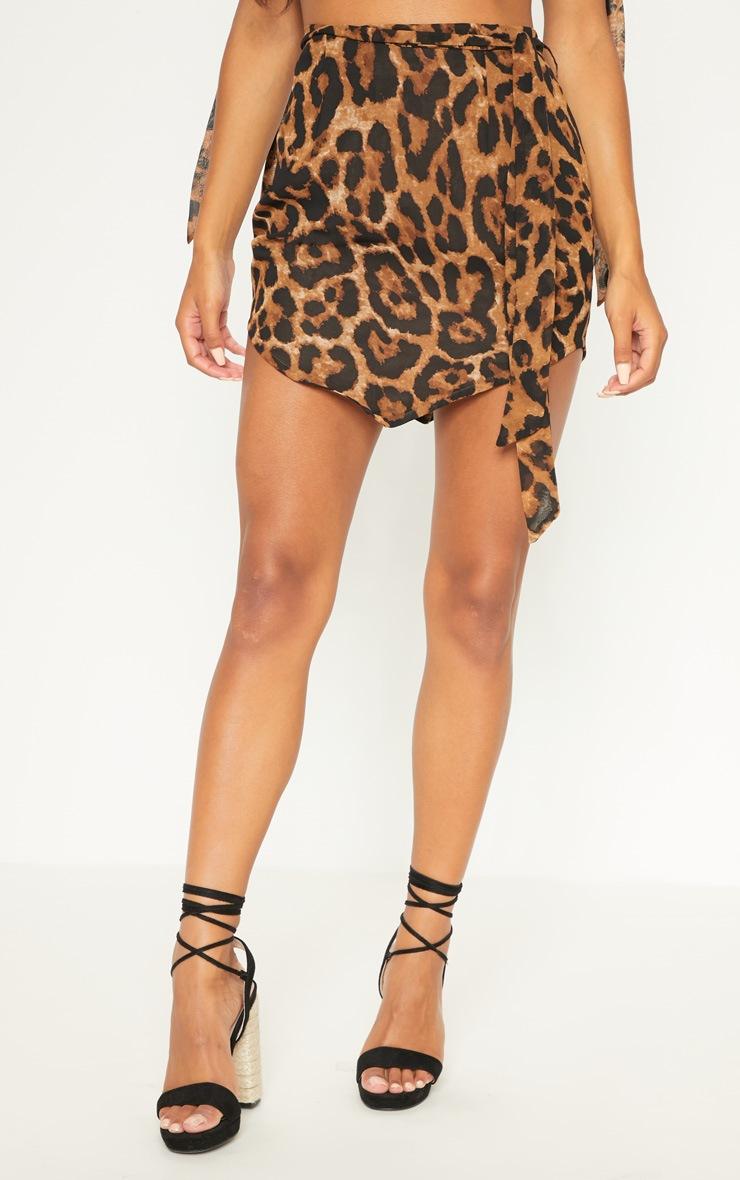 Tan Leopard Tie Waist Handkerchief Skirt 2
