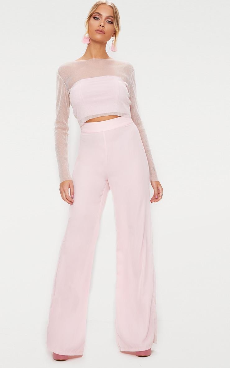 Pink Sheer Lurex Long Sleeve Top 4