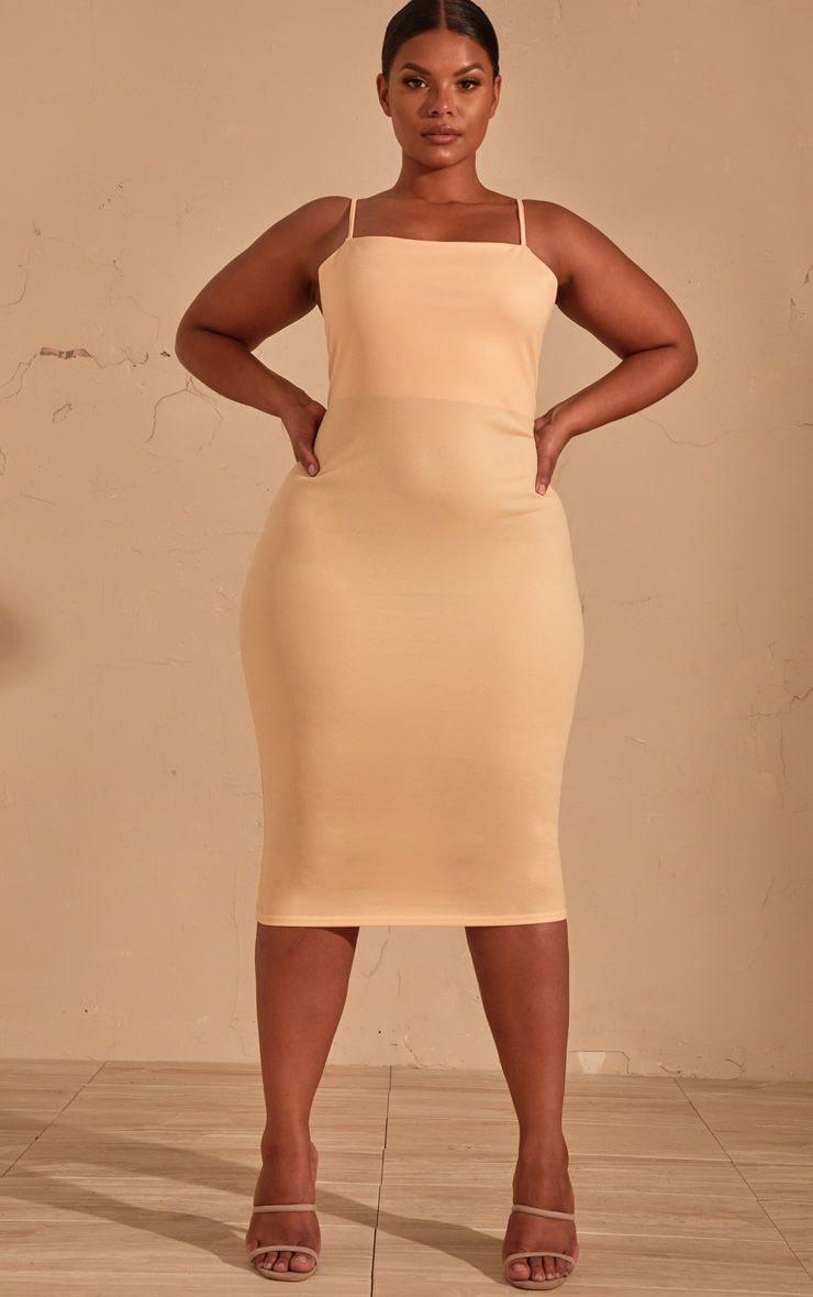 Plus Cream Strappy Midi Dress 1