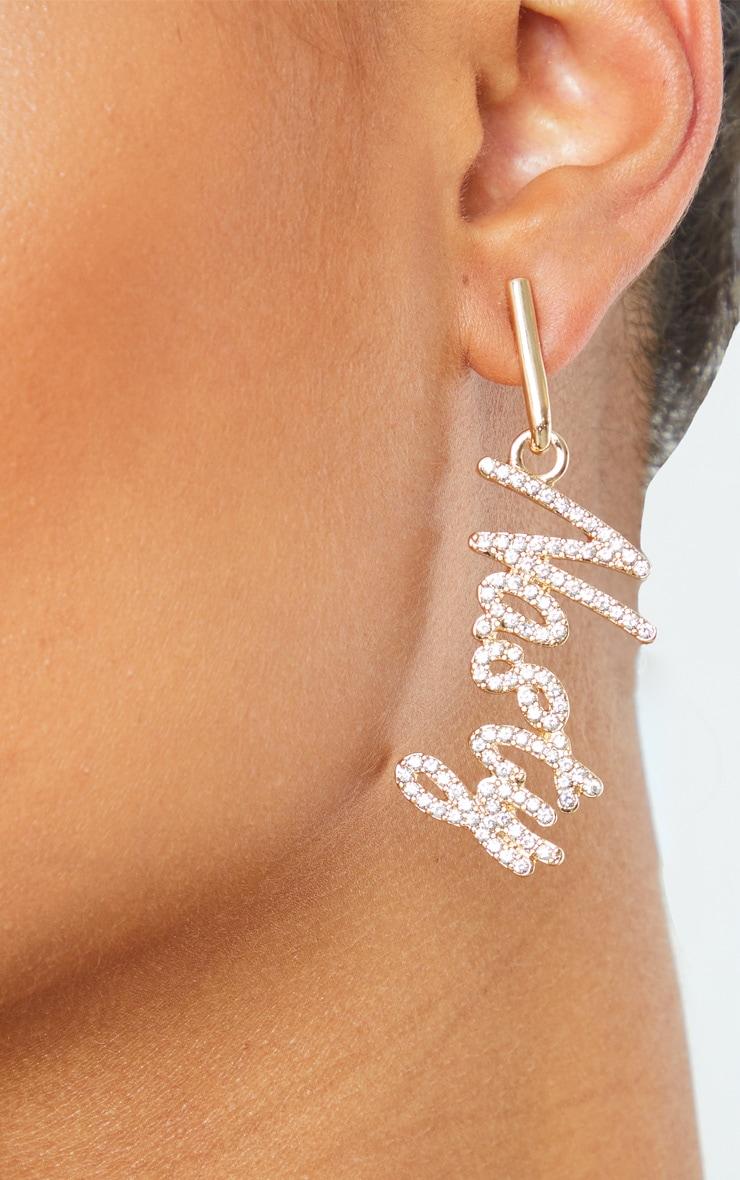 Gold Diamante Nasty Drop Earrings 2