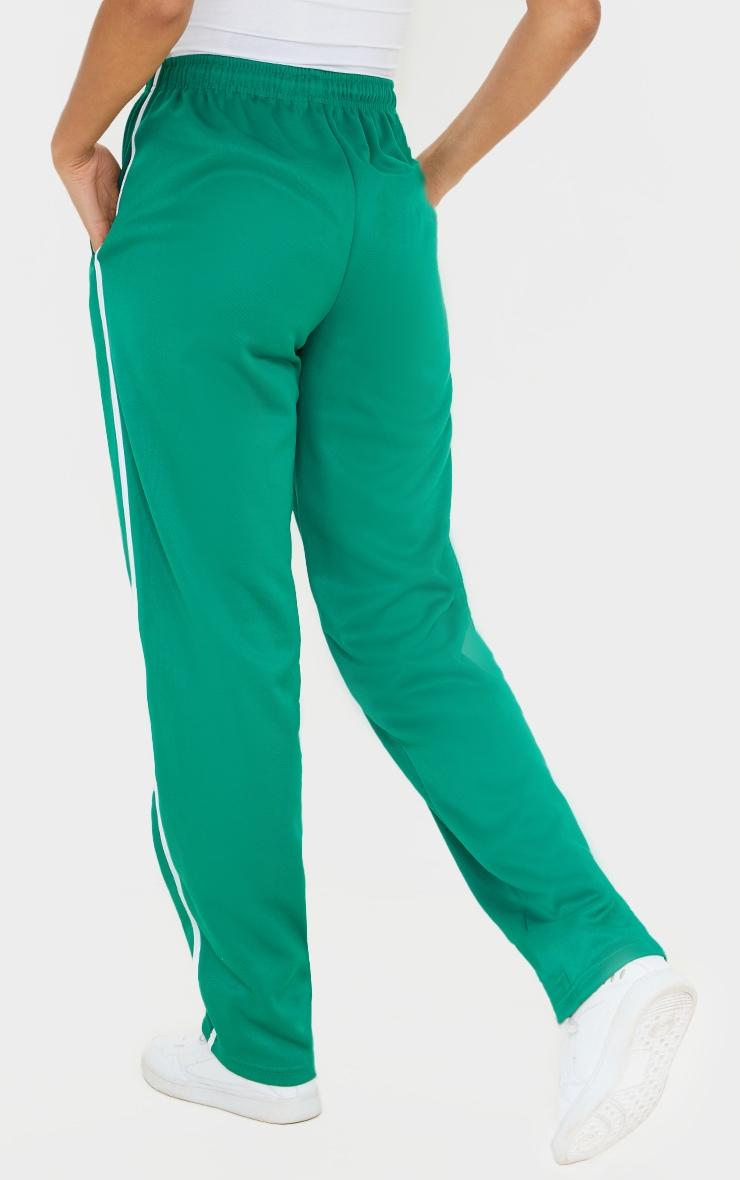 Deep Green Tri Cot Side Stripe Wide Leg Joggers 3