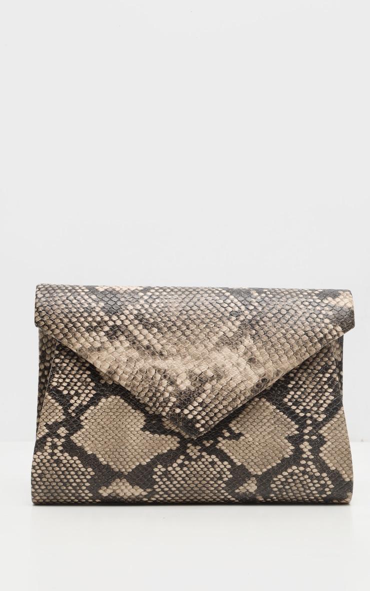 Brown Snake PU Envelope Clutch Bag 3